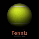 Tennis ball in the dark, vector background. Stock Photo