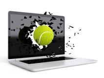 Tennis ball destroy laptop Stock Photos