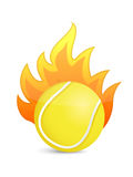 Tennis Ball in fire. Illustration design over a white background Royalty Free Stock Photos