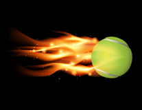 Tennis Ball on Fire Illustration. Tennis ball flying on fire illustration. Vector EPS 10 available. EPS file contains transparencies and gradient mesh Stock Image