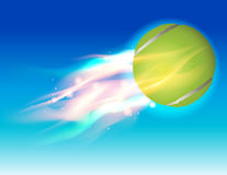 Tennis Ball Fire in Sky Illustration. A flying tennis ball in flames in the sky illustration. Vector EPS 10 available. EPS contains gradient mesh and Stock Photos