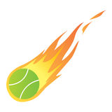 Tennis Ball in Fire Stock Photography