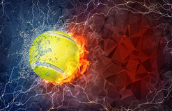 Tennis ball in fire and water. Tennis ball on fire and water with lightening around on abstract polygonal background. Horizontal layout with text space Royalty Free Stock Photography