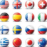 Tennis ball flags. Of countries, layered and grouped illustration for easy editing Royalty Free Stock Image