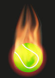 Tennis ball with flame. Burning Tennis ball with a tail of flame. Vector illustration Isolated on background Stock Photo