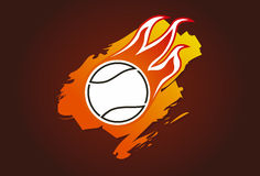 Tennis ball with flames Stock Photo