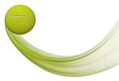 Tennis ball flying, Illustration of tennis ball in motion Royalty Free Stock Photo