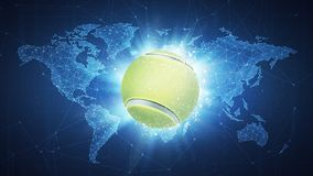 Tennis Ball flying on world map background. Tennis Ball flying in white particles on the background of blockchain technology network polygon world map. Sport Stock Image