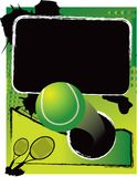 Tennis ball on green grungy banner Stock Images