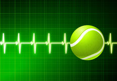 Tennis Ball on Green Pulse Background Royalty Free Stock Photo