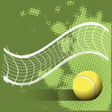 Tennis Ball and Grid on a Green Background Stock Image