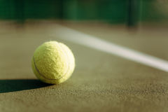 Tennis ball on ground coverage closeup Royalty Free Stock Images