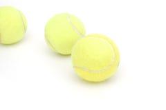 Tennis ball group. Decorative tennis balls on isolated white Royalty Free Stock Photos