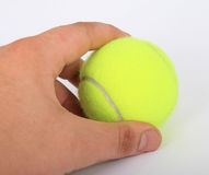 Tennis Ball and a hand. Isolated on white, close-up, copy space, macro Royalty Free Stock Photo