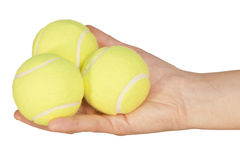 Tennis ball in hand Royalty Free Stock Photography