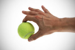 Tennis ball in hand Stock Photography