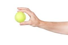 Tennis ball in hand.Closeup Royalty Free Stock Photo