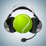 Tennis ball with headphones Stock Images