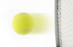 Tennis ball hit by raquet on white background Royalty Free Stock Image