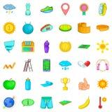 Tennis ball icons set, cartoon style Royalty Free Stock Photos
