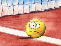 Tennis ball. Ironic tennis ball on tennis court Stock Photo