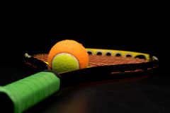 Tennis ball for kids with tennis racket Royalty Free Stock Image