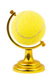 Tennis ball like a globe. Isolated on white background Royalty Free Stock Photo