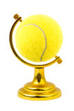 Tennis ball like a globe Stock Images