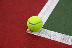 Tennis Ball on the Line. Tennis Ball Just In stock photography