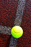 Tennis ball on line Royalty Free Stock Photos