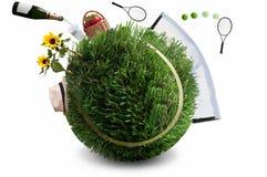 Summer grass tennis concept Royalty Free Stock Photo