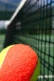 Tennis ball and net. Yellow-red balls on a green tennis court Stock Photos