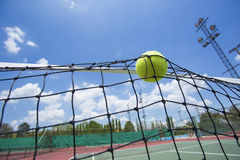 Tennis ball in net Stock Photography
