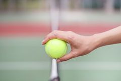Tennis ball on the net Royalty Free Stock Photo