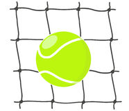 Tennis ball in the net. Illustration Stock Photos