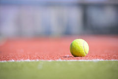 Tennis ball on an orange-green field Royalty Free Stock Photography