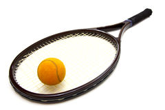A tennis ball and racket Royalty Free Stock Image