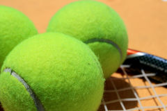 Tennis ball and racket Royalty Free Stock Photos