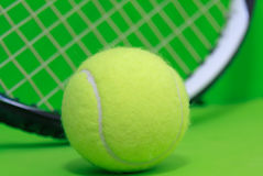 Tennis Ball. On tennis racket Royalty Free Stock Photos