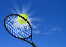 Tennis ball and racket in action Royalty Free Stock Photos