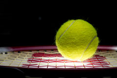 Tennis Ball on Racket Royalty Free Stock Photos