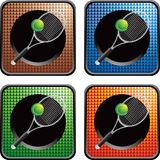 Tennis ball and racket on checkered web buttons Royalty Free Stock Image