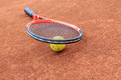Tennis ball and racket Royalty Free Stock Photos