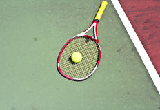 Tennis ball with racket Stock Images