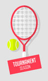 Tennis ball and racket on gray background. Sport banner in flat style. Vector Stock Images