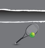 Tennis ball with racket on gray ripped template Royalty Free Stock Photos