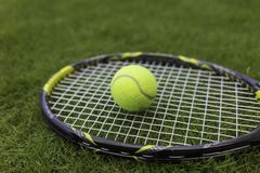 Tennis ball and racket on green grass background.  Stock Photo