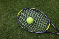 Tennis ball and racket on green grass background.  Royalty Free Stock Photo