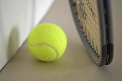 Tennis ball with racket. Stock Image