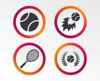 Tennis ball and racket icons. Laurel wreath. Tennis ball and racket icons. Fast fireball sign. Sport laurel wreath winner award symbol. Infographic design Stock Photography